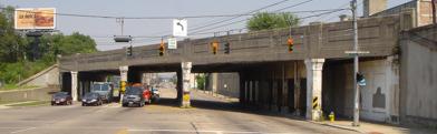 Old bridge into downtown