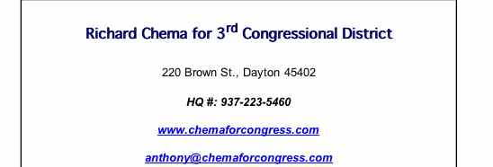 Screenshot from Montgomery County Dem site endorsing 2006 Candidate Richard Chema for congress (in 2008)