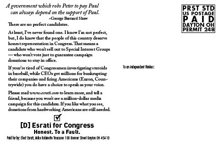 There are no perfect Candidates. Elect Esrati postcard rear