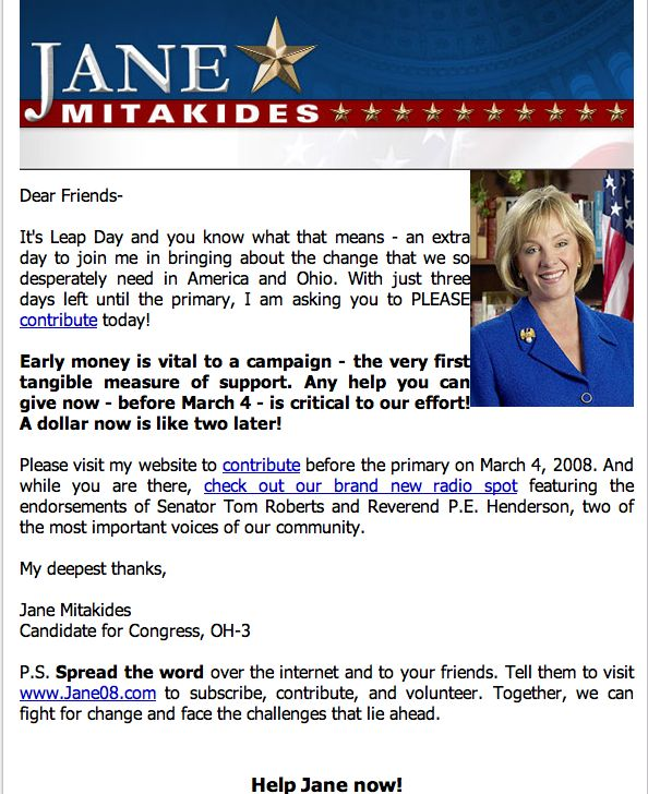 Screenshot of Jane Mitakides e-mail for money