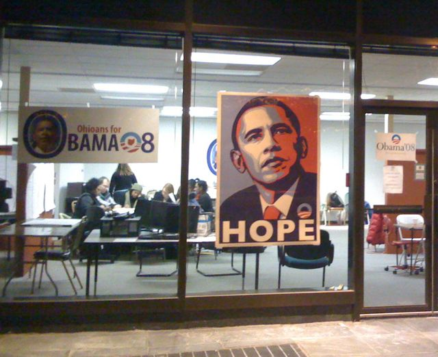 "Photo of Obama ""Hope"" poster in the Dayton OH Obama for president office window"