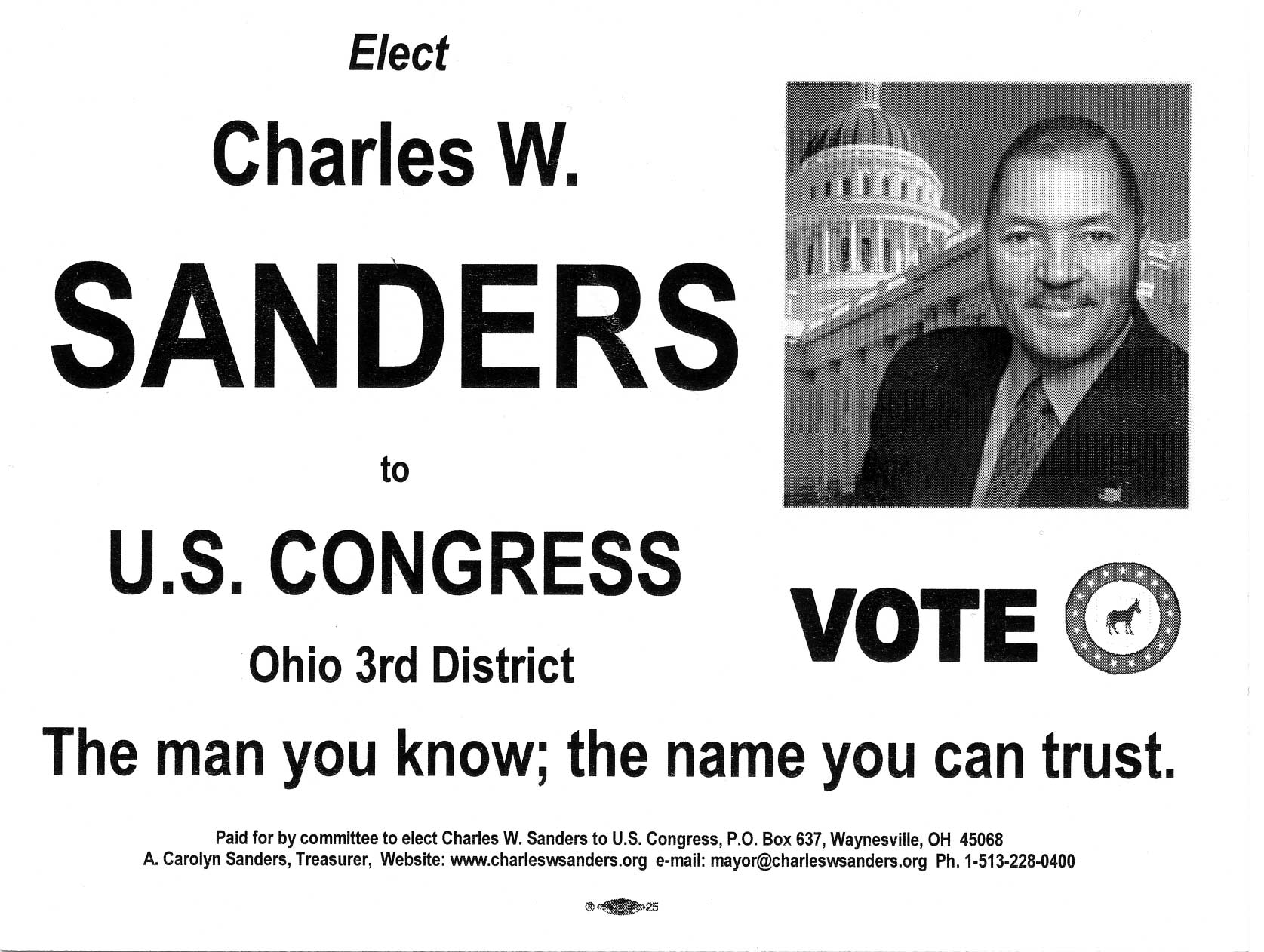 Scan of Charles W. Sanders campaign handout.