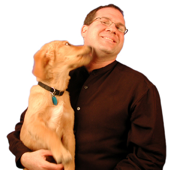 David Esrati and his dog who loves him.