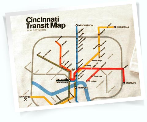 Picture of the Cincinatti Transit map for optimists t-shirt