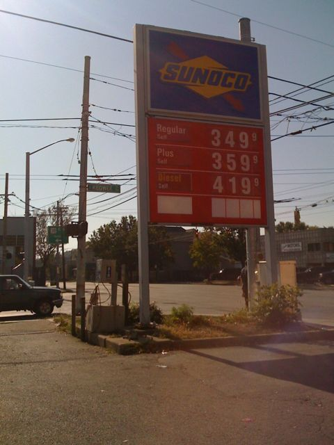 Gas at $3.49 a gallon on the corner of Wayne and Keowee on 10/5/08