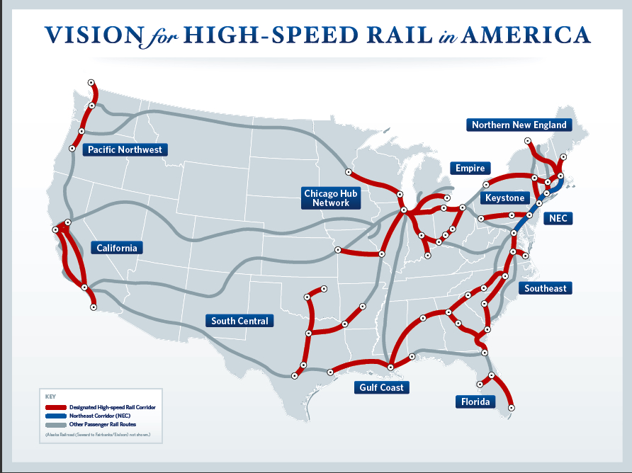 The Obama high-speed rail plan map
