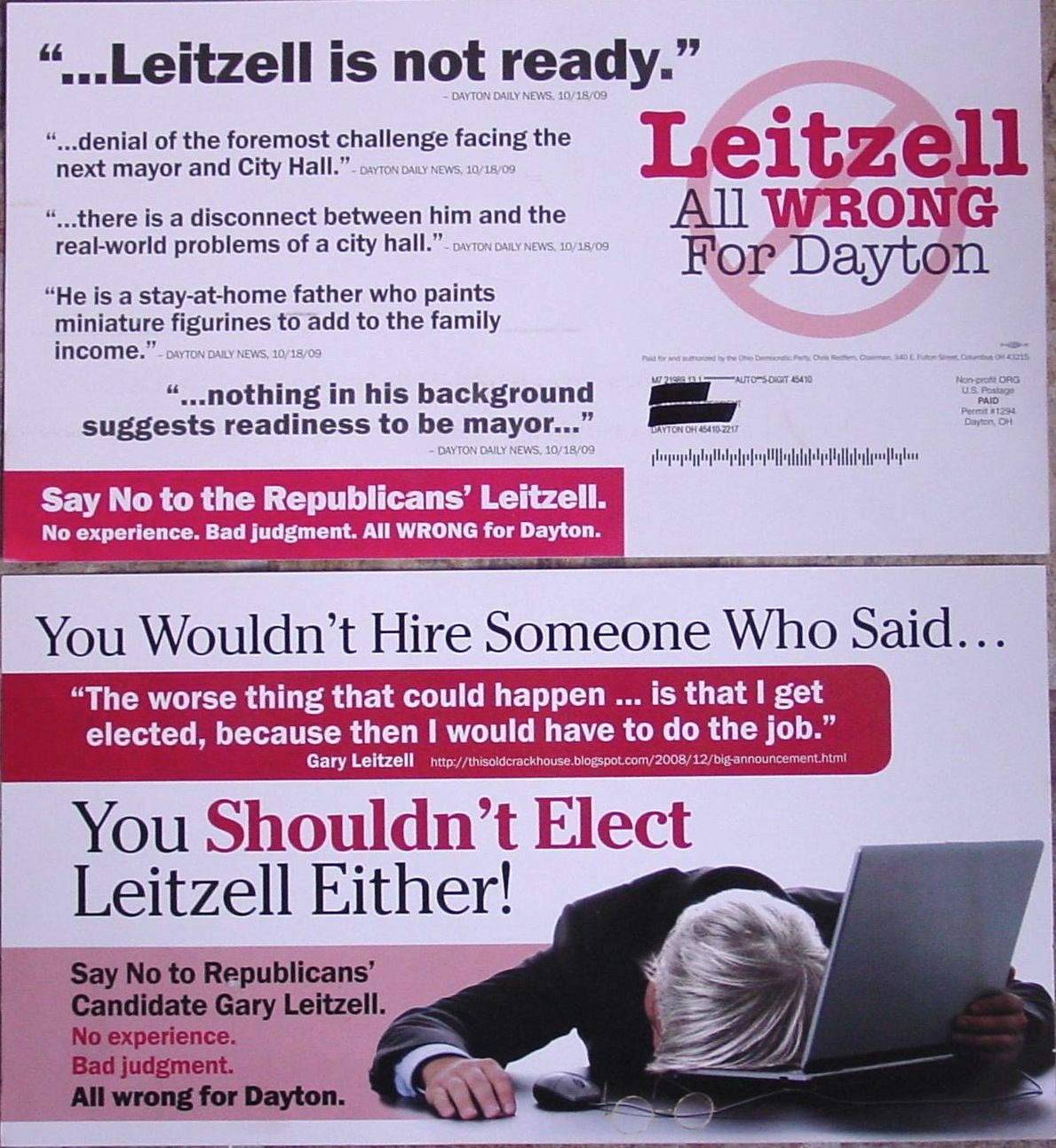 Front of 2 mailings smearing Gary Leitzell