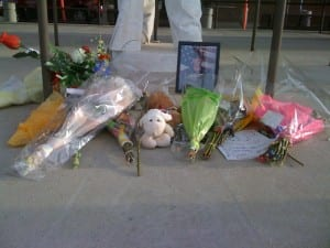 Closeup of tribute to Jesse Huff