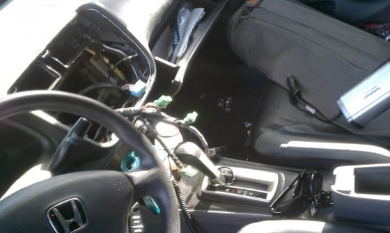 photo of dashboard of Honda Civic after theft