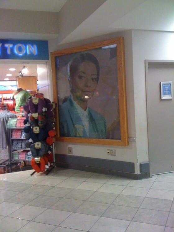 Tile mosaic mural of former Mayor Rhine McLin at Dayton International Airport
