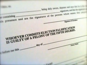 Whoever commits election falsification is guilty of a felony of the fifth degree