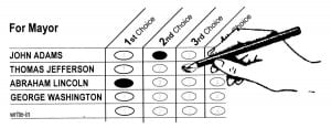 Hand marking an instant runoff ballot