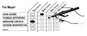 Hand marking an instant runoff ballot
