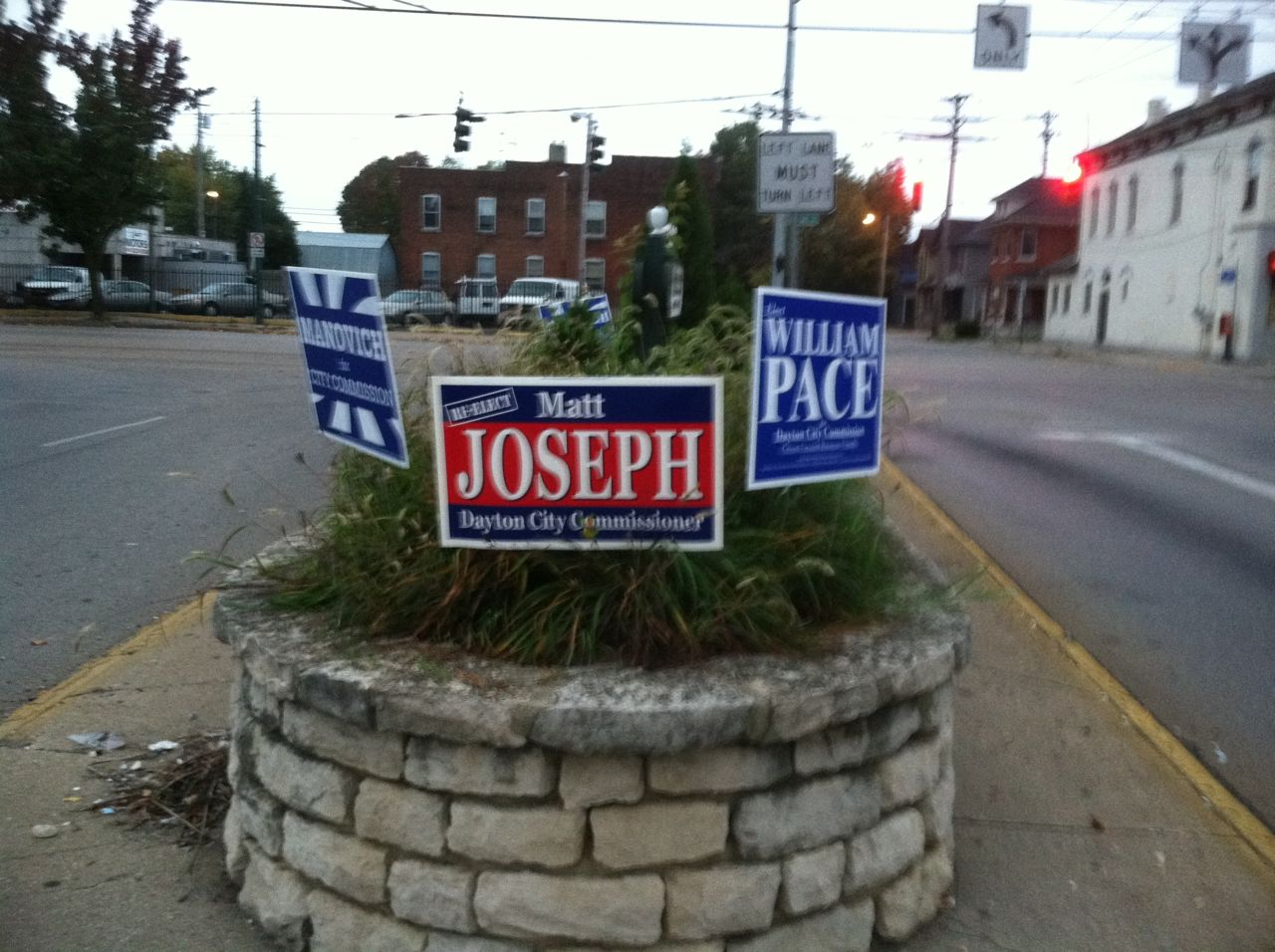Illegally placed campaign signs in Dayton OH in the public right of way