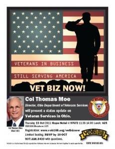 Vet Biz Now flyer, for VOB108 announcing Col Tomas Moe to speak