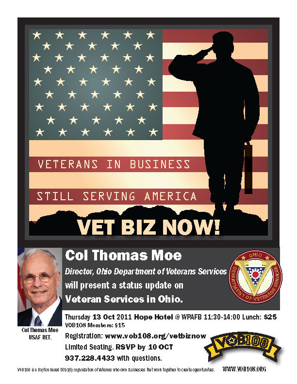 Vet Biz Now flyer, for VOB108 announcing Col Tomas Moe to speak