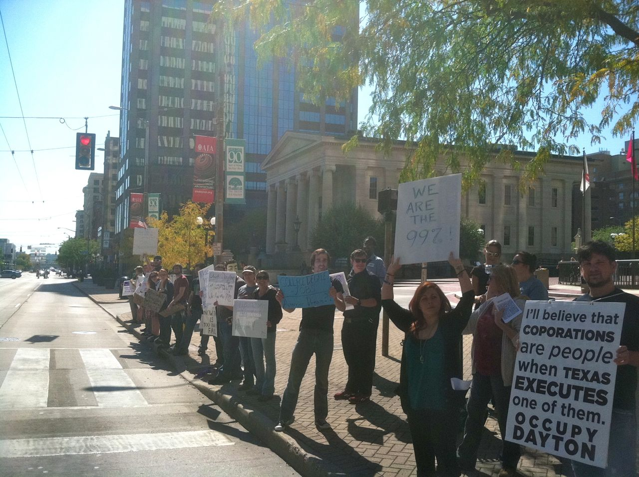 Photo from Main Street- looking down the protest line Occupy Dayton