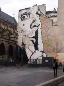 Place Stravinsky wall art by French artist, Jef Aerosol