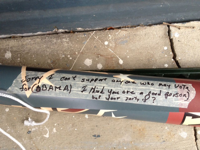 Note on an Esrati campaign sign taken down by the homeowner in Beavercreek