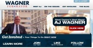 Screen Shot of AJ Wagner for mayor site