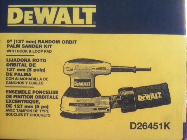"Stolen DeWalt 5"" Random Orbit Palm Sander Kit- model D26451K SN 882560"