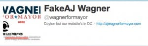 "The twitter account for WagnerForMayor has been claimed by ""The Fake AJ Wagner"""