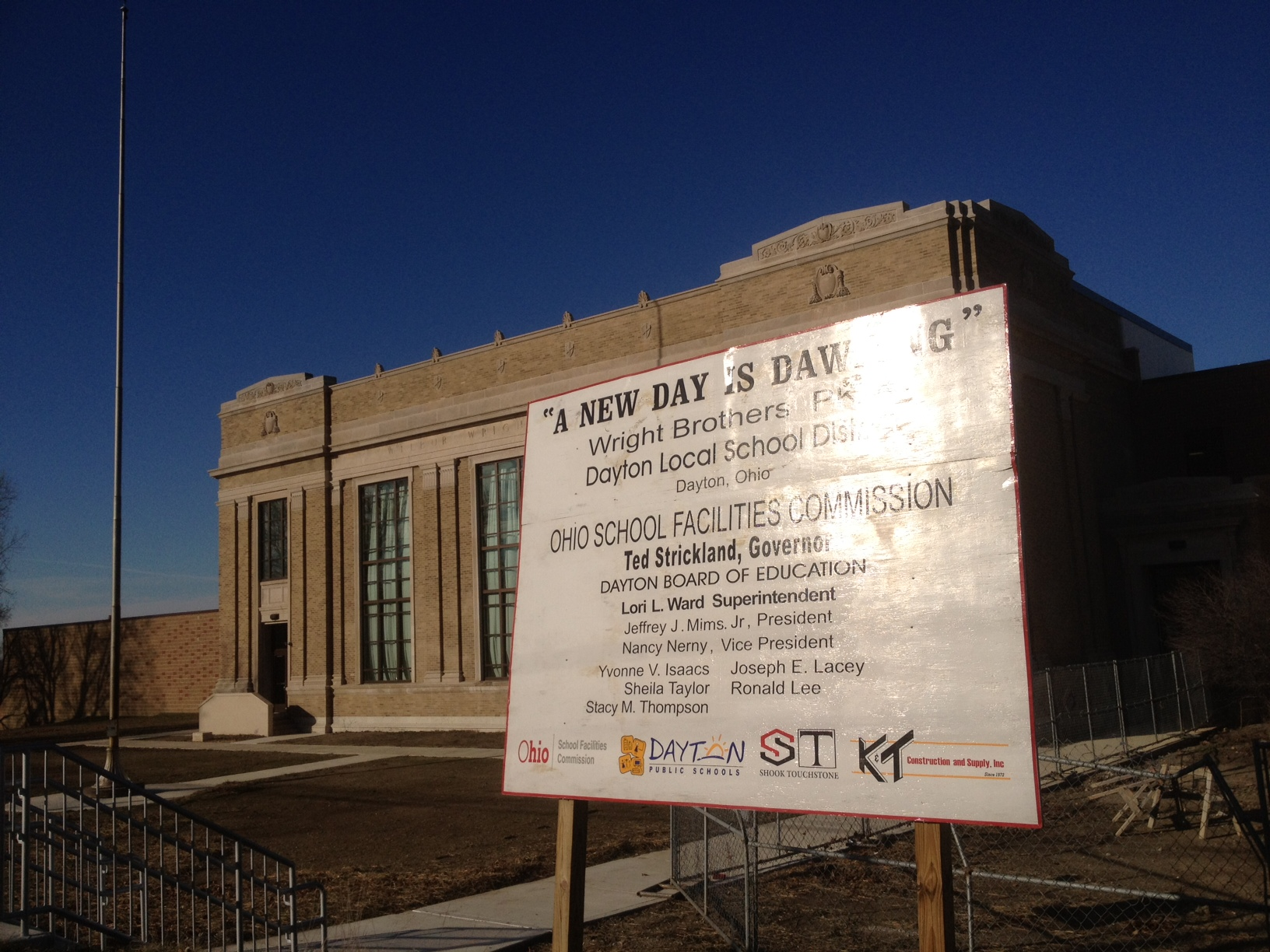 Wright Brothers Elementary School with construction sign