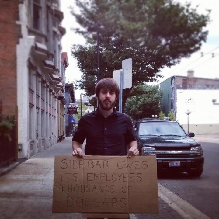 Photo of a protestor of the Sidebar in Dayton Ohio