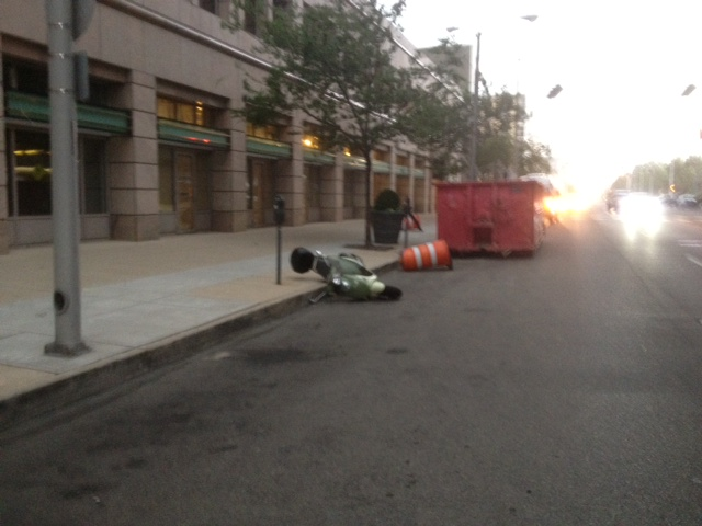 Photo of scooter knocked over by Derecho winds in Downtown Dayton Ohio
