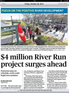 DDN front page screen grab 26 OCT 2012 on River Run