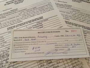 Photo of David Esrati petition turn in, and reciept for Dayton City Commission