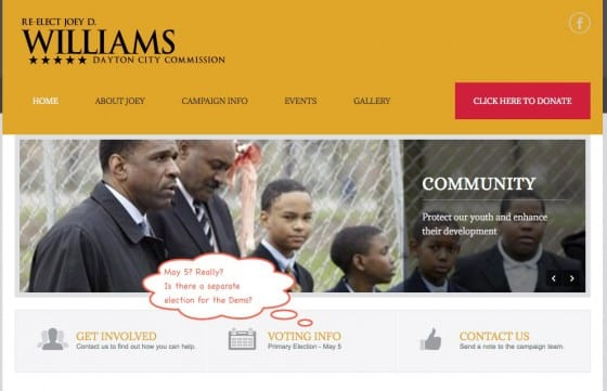 Screenshot from Joey D. Williams site for Dayton City Commission