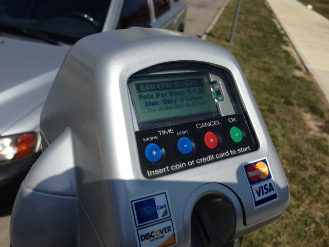 Dayton Parking meter claiming $1.20 an hour, on a 5 hour meter
