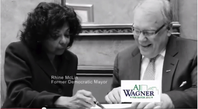 Screen grab from AJ Wagner for Mayor tv spot with him and BOE Director Rhine McLin