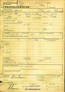 Clara Hirsch, Great Grandmother of David Esrati, Death Certificate, Murdered 04. 03. 1943 Terezín