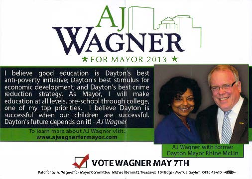 Front of AJ Wagners last ditch polling place literature with link to pdf