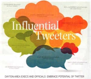 "scan of front page of Dayton Business Journal ""Most influential tweeters"" image from May 19 2013"