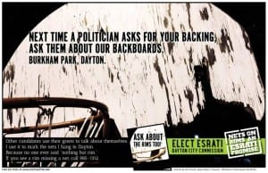 Campaign poster for David Esrati for Dayton City Commission, next time a politician asks for your backing, ask about our backboards