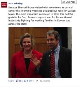 Nan Whaley with Sherrod Brown in a FB ad