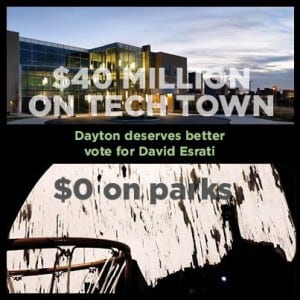 David Esrati's facebook ad comparing money spent on business parks vs. spent on real parks