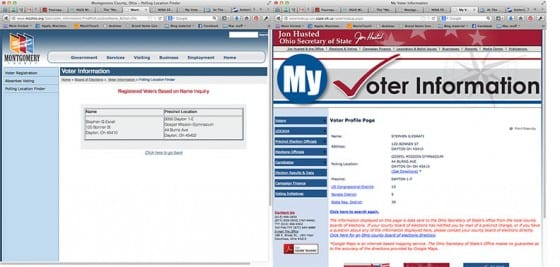 Screenshots of same voter, from two different precints.