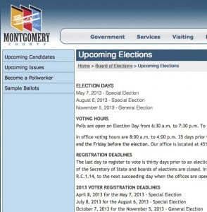 Screen shot Montgomery County Board of Elections (Ohio) site on Jan 12, 2014 still showing 2013 dates
