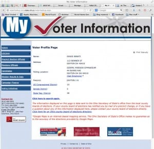 Screen shot of Ohio Secretary of States voter data for David Esrati showing wrong precinct