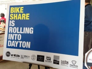 Photo of poster announcing Bike Share coming to Dayton