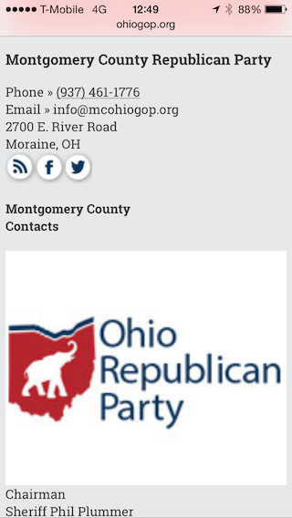 Screen shot of Ohio Republican Party site showing Phil Plummer as party chair