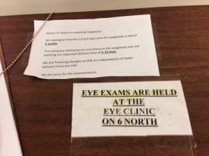 Sign at Dayton VA explaining delay in glasses delivery