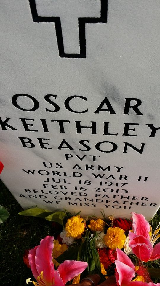 Photo of the tomb stone of Oscar Keithly Beason, murdered in Dayton Ohio