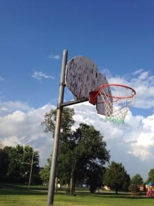 Arlington Hills Park, July 27 2014. Rotting backboard. Dayton Ohio