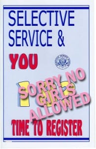 "Selective Service Manual cover with the words ""No Girls Allowed"" superimposed"