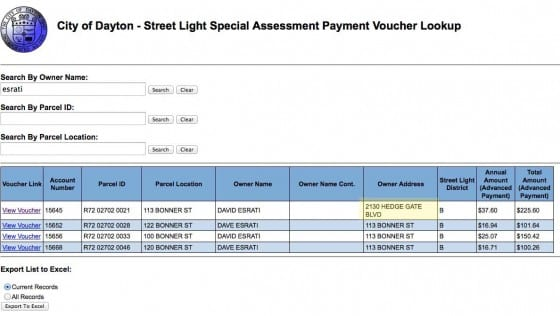 Screenshot of Dayton Streetlight assessment